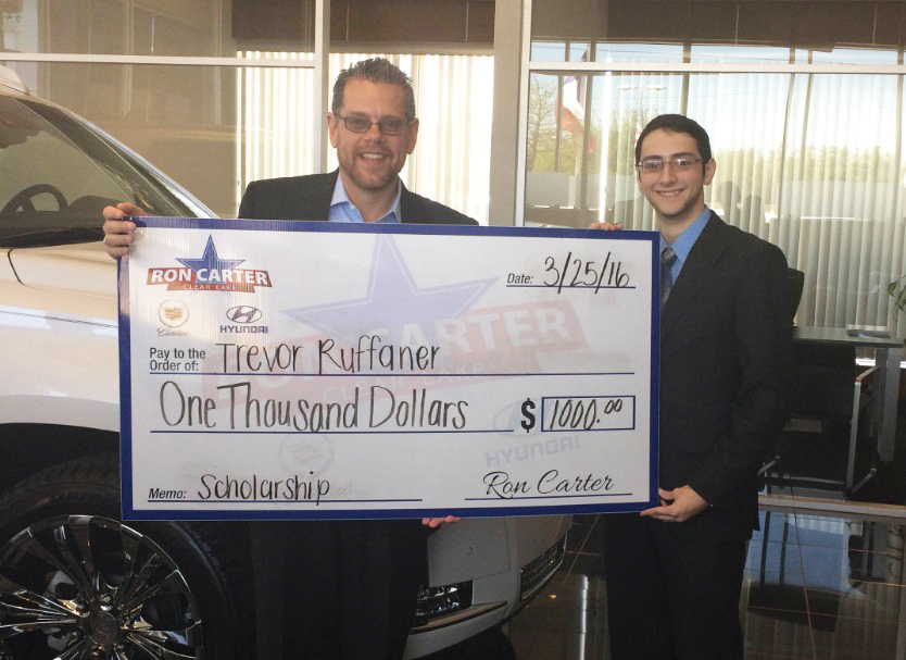 Ron Carter Cadillac >> Trevor Ruffaner receives $1,000 Ron Carter scholarship - Bay Area Houston Magazine