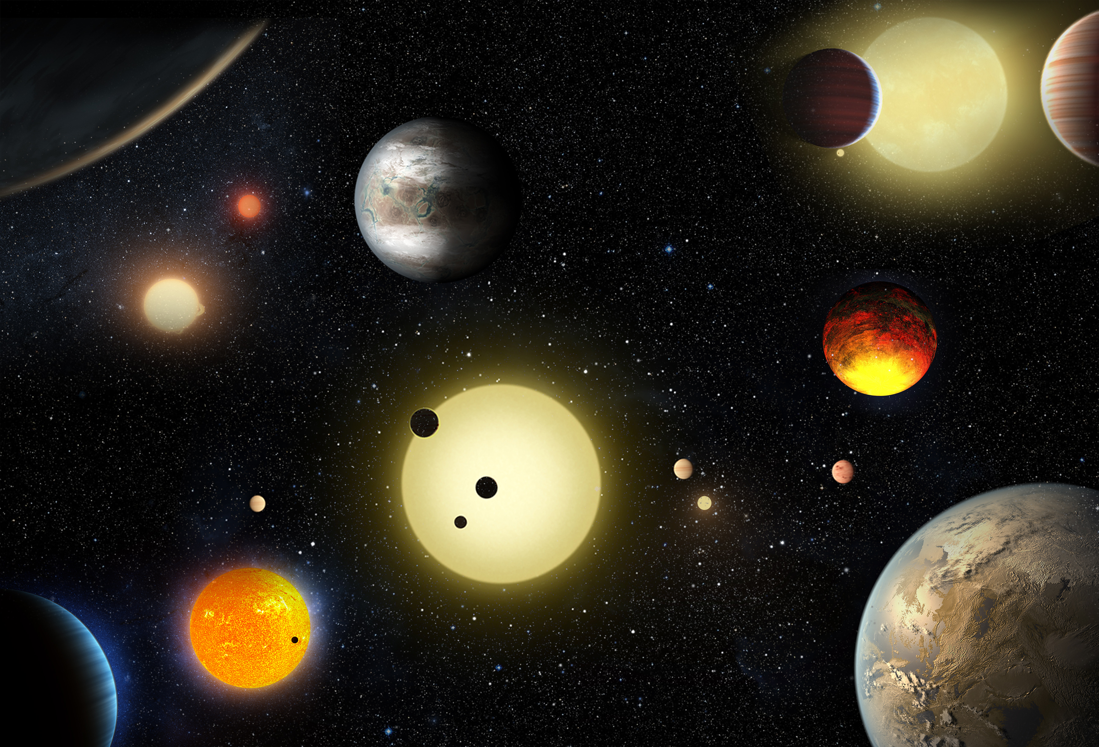 This artist's concept depicts select planetary discoveries made to date by NASA's Kepler space telescope. Credits: NASA/W. Stenzel