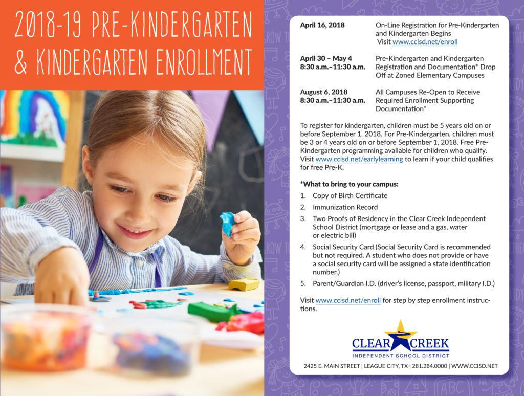 CCISD offers Pre-Kindergarten and Kindergarten Registration